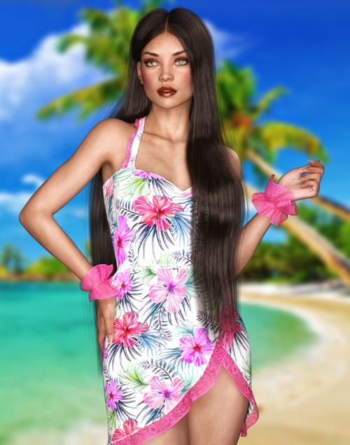 JMR Hawaiian Short Dress for G3F and G8F
