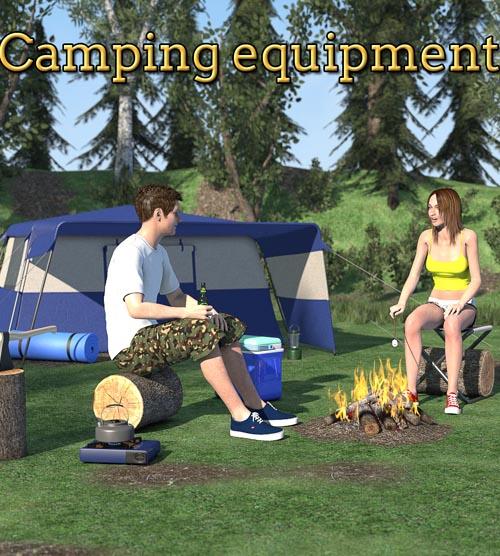 Camping equipment scene