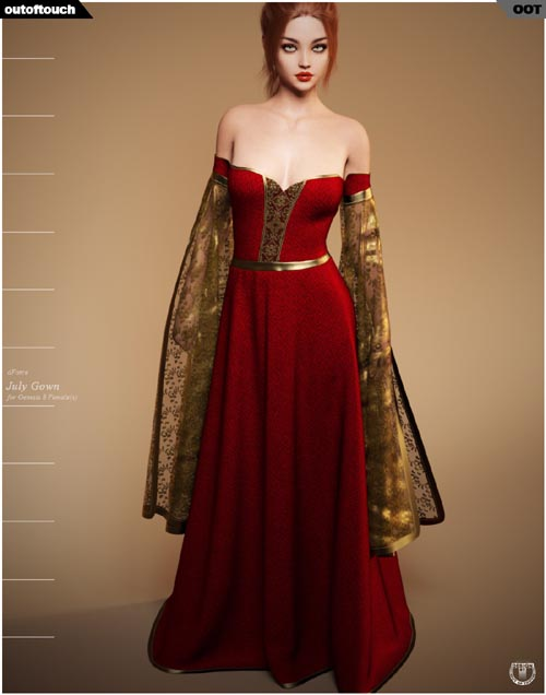 dForce July Gown for Genesis 8 Females