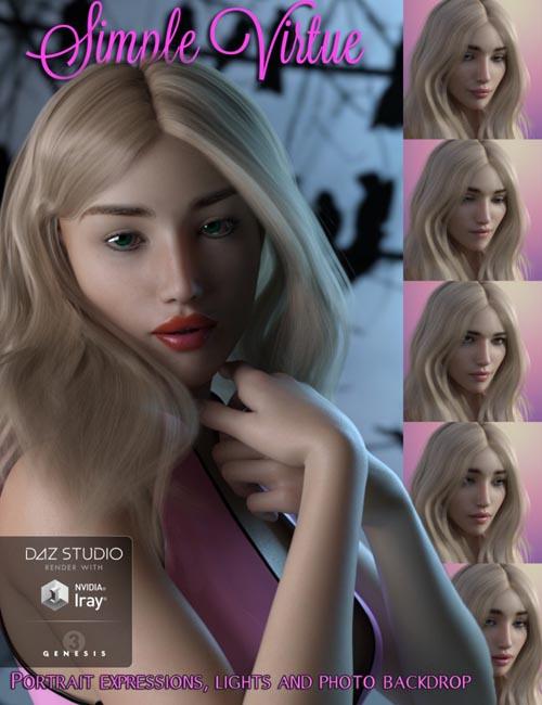 Simple Virtue: Portrait Expressions Set for Genesis 3 Female(s)