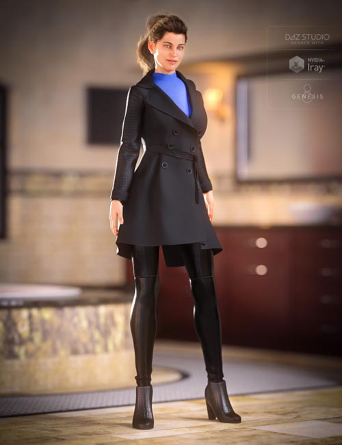 Trench Coat Outfit for Genesis 8 Female(s)