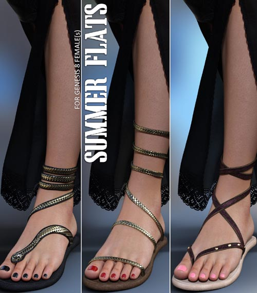 Summer Flats for Genesis 8 Females