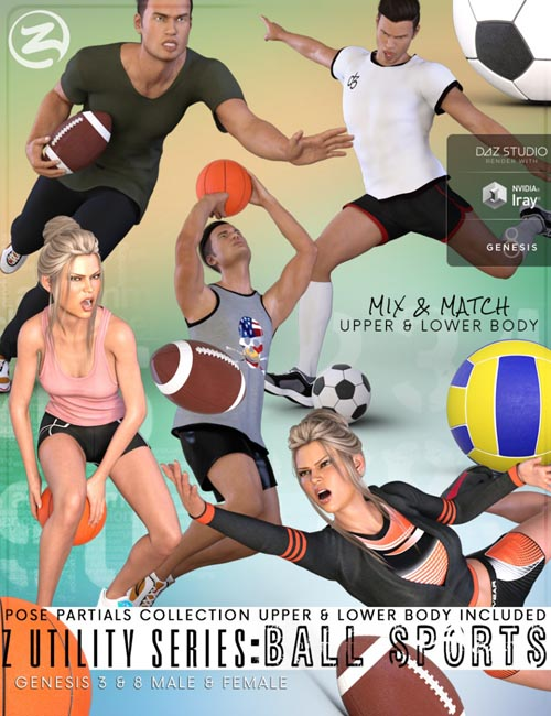 Z Utility Series : Ball Sports - Props, Poses and Partials for Genesis 3 and 8