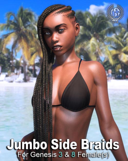 Jumbo Side Braids for Genesis 3 and 8 Female(s)