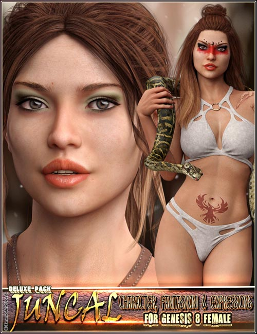 EJ Juncal Deluxe Pack for Genesis 8 Female: Character, Fantasykini and Expressions