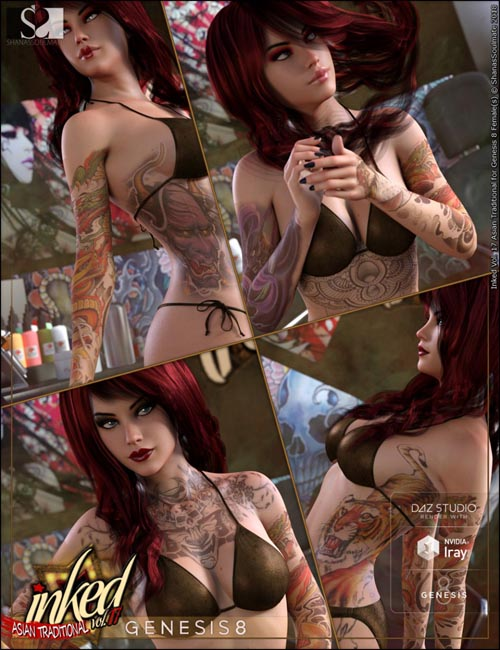 Inked Vol.17: Traditional Asian Tattoos for Genesis 8 Female(s)