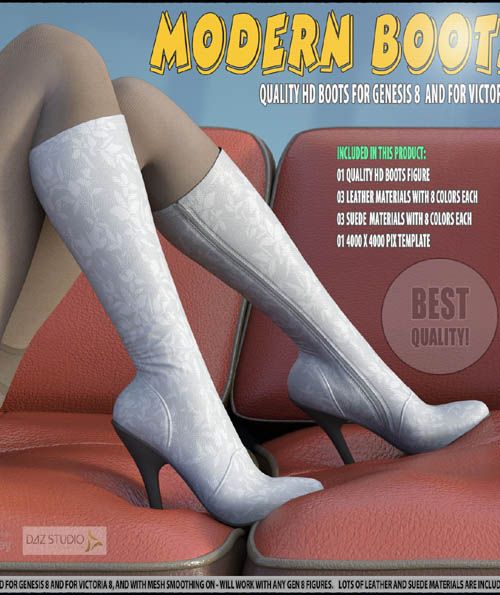 Modern Boots For Genesis 8 and For Victoria 8