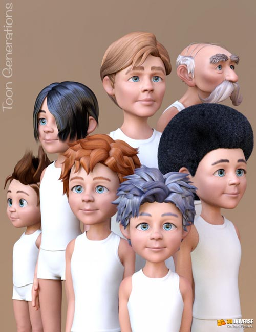 Toon Generations Hair for Genesis 8 Male(s)