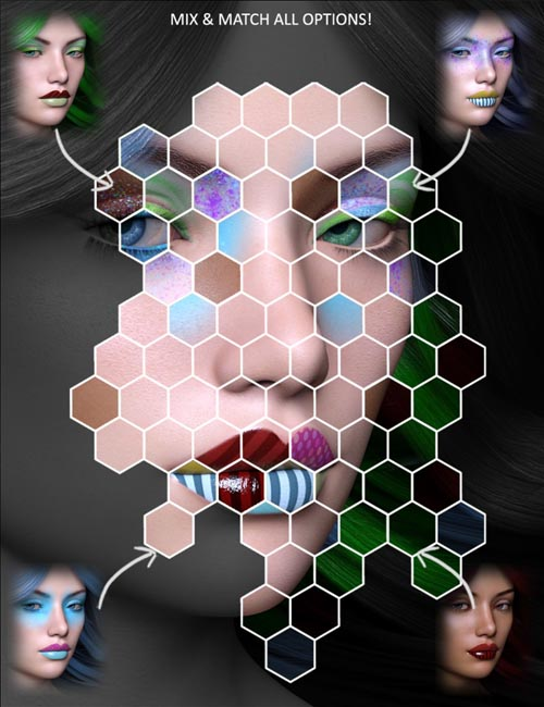 Extreme Closeup: Psychedelic Makeup for Genesis 3 Female(s)