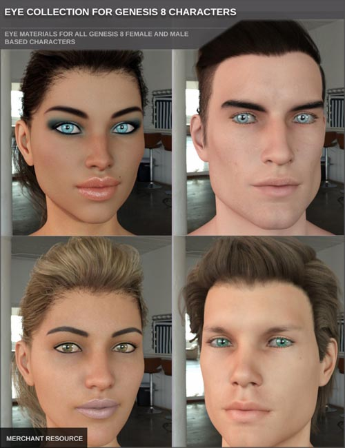 Eye Collection for Genesis 8 Female(s) and Male(s) Merchant Resource