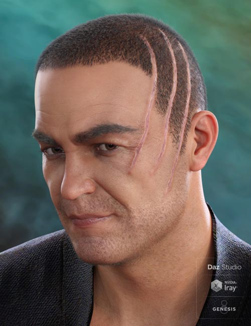 MRL Buzz Cut Hair, Stubble and Scars for Genesis 8 and Genesis 3 Male