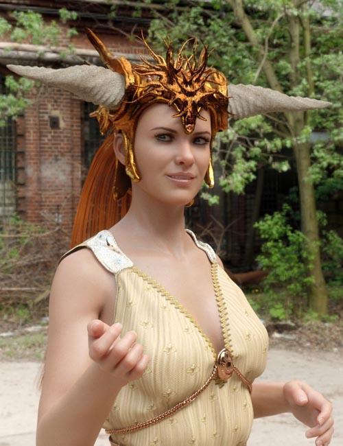 Horned Fantasy Headdress for Genesis 3 and 8