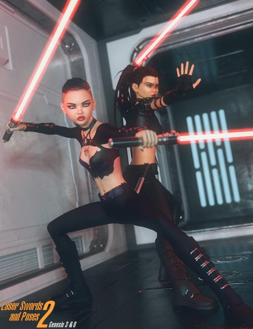 Laser Swords and Poses 2 for Genesis 3 and 8
