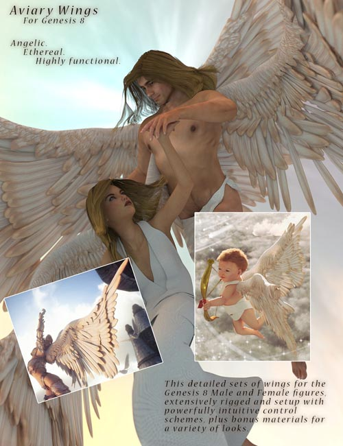 Aviary Wings for Genesis 8 Male and Female