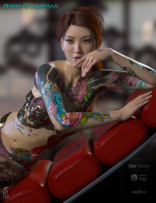 Asian SkinWorks L.I.E. Tattoos for Genesis 3 and 8 Female(s)