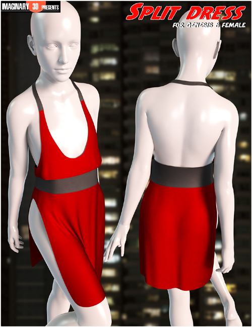 dForce Split Dress for Genesis 8 Female