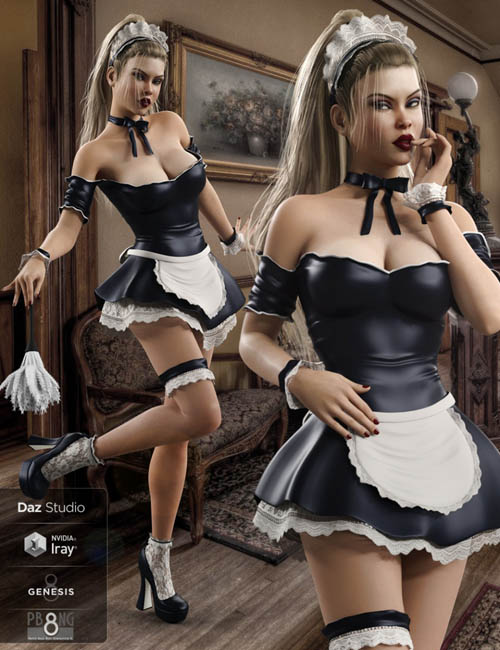 French Maid Costume Set for Genesis 8 Female(s)
