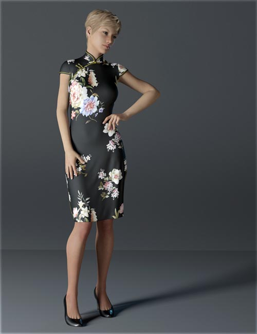dForce H&C Short Qipao Dress for Genesis 8 Female(s)