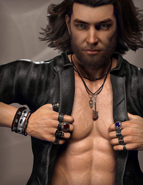 MD Rock Jewelry for Genesis 3 and 8 Male(s)
