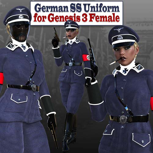 German SS Uniform without mask (converted from G3F) forGenesis 8 Female(s)