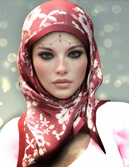 dForce X-Fashion Floral Hijab for Genesis 8 Female(s)