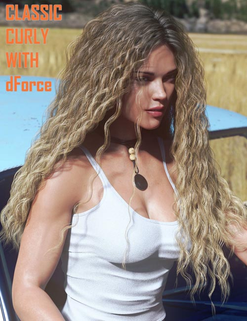Classic Long Curly Hair with dForce for Genesis 8 Female(s)