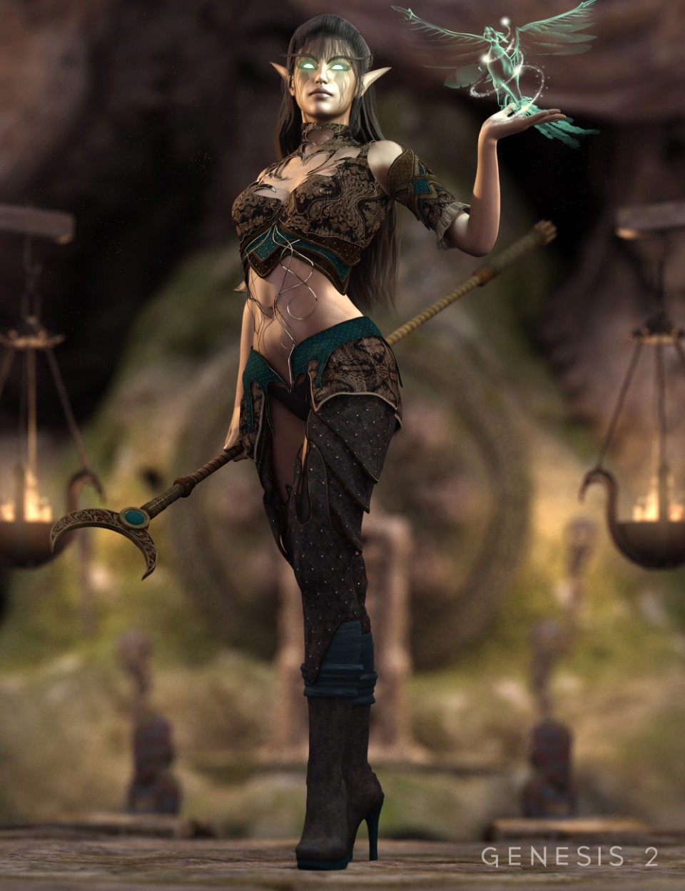 Dark Elf Enchantress Outfit for Genesis 2 Female(s)