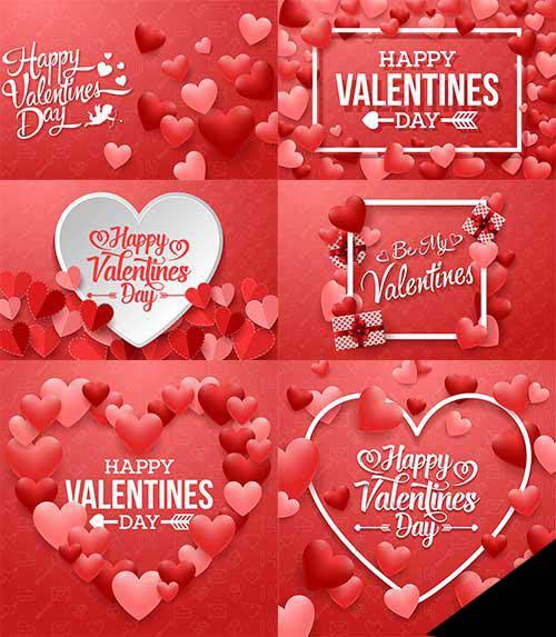 Romantic heart backgrounds - 3 - Vector Graphics