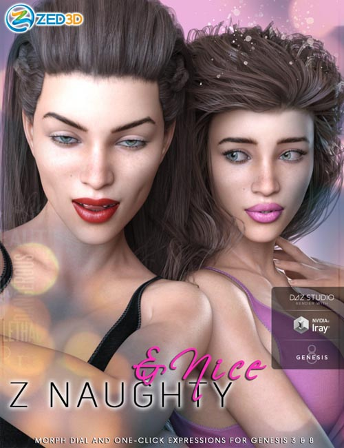 Z Naughty and Nice - Morph Dial and One-Click Expressions for Genesis 3 and 8 Female