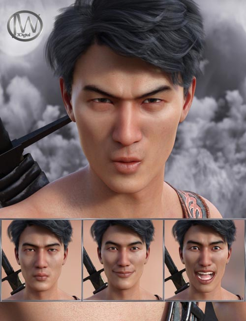 Faces of a Ninja - Expressions for Genesis 8 Male and Lee 8