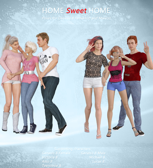 Home Sweet Home Poses for Genesis 8