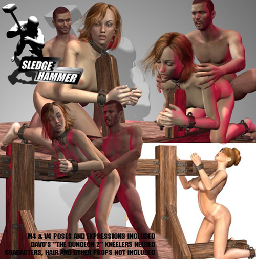 SledgeHammer's Dungeon2Kneelers V4M4 Sex Poses for V4