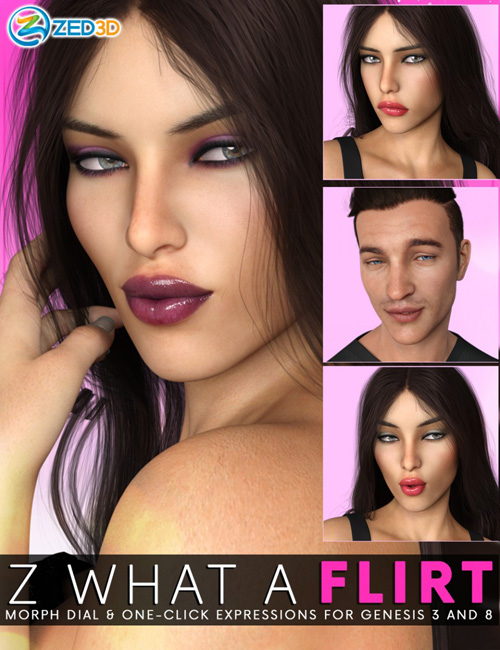 Z What A Flirt - Morph Dial and One-Click Expressions for Genesis 3 and 8