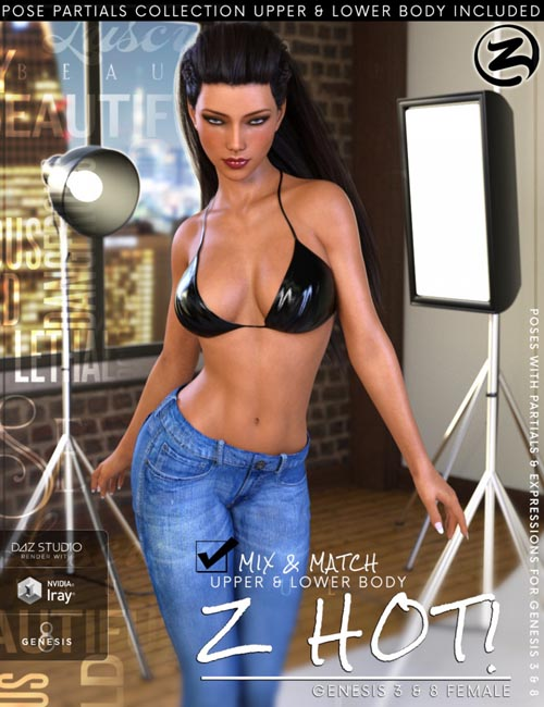Z Hot - Poses with Partials for Genesis 3 & 8 Female