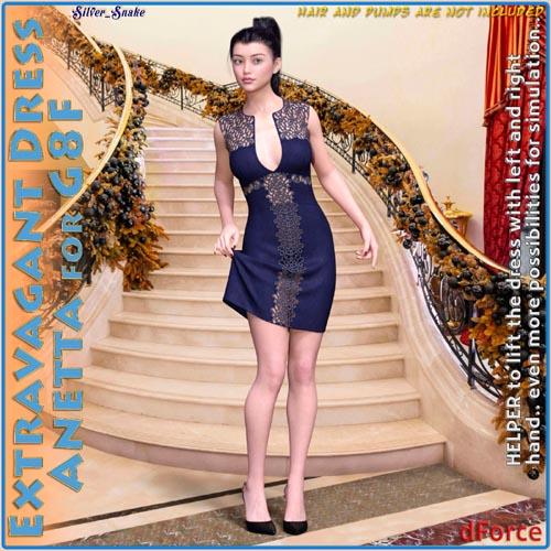 dForce Extravagant Dress Anetta for Genesis 8 Female