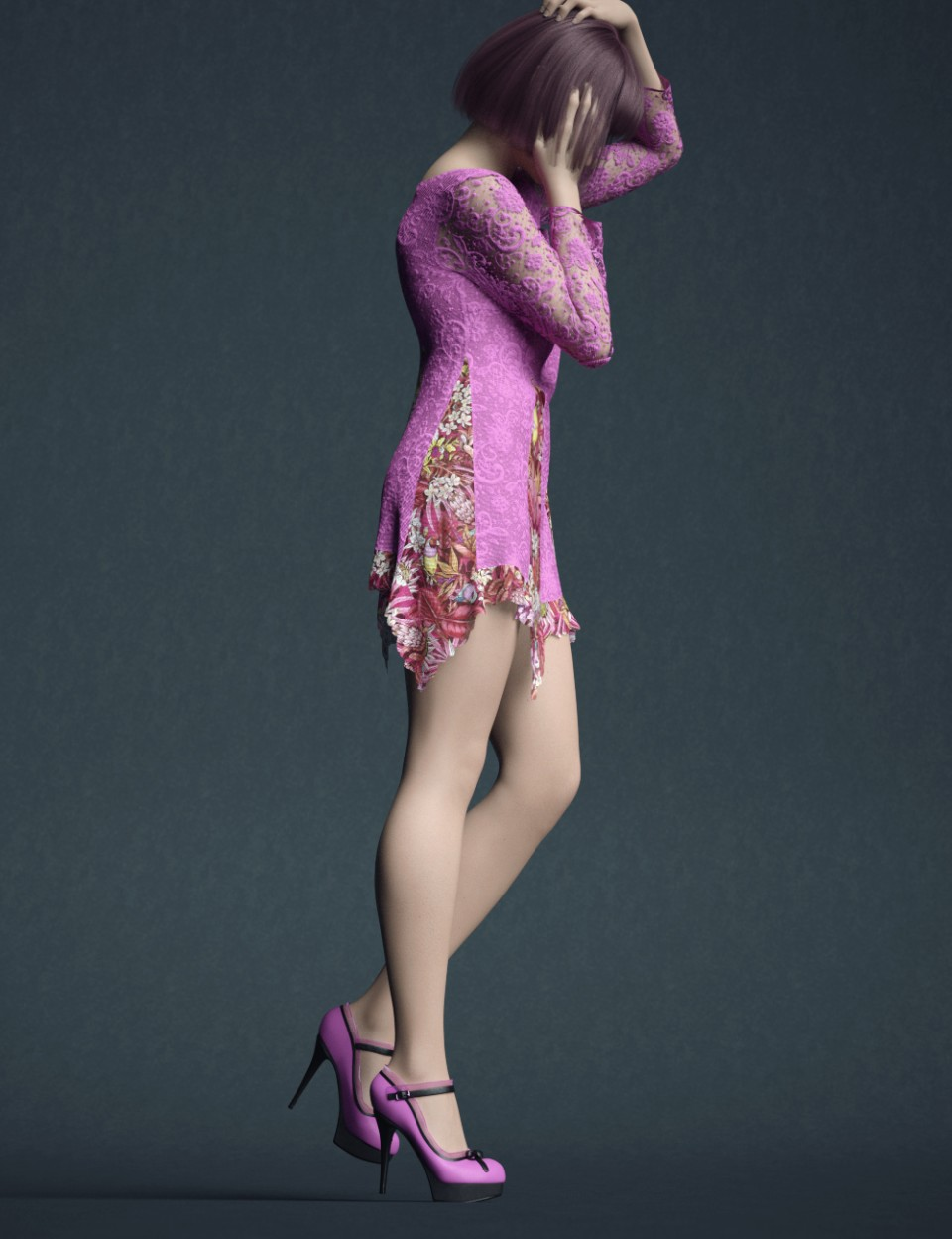 dForce Lace Blouse Outfit for Genesis 8 Female(s)