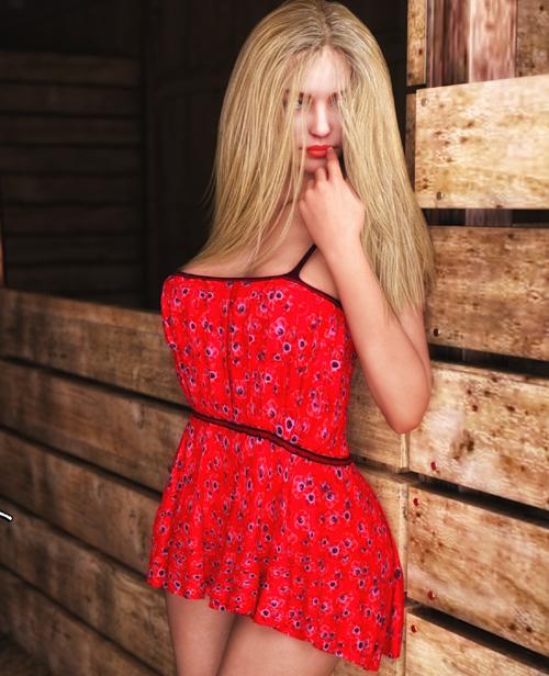 JMR dForce Flirty Floral Dress for G3F and G8F
