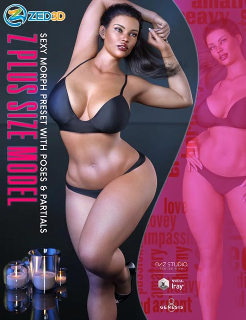 Z Plus Size Model Shape Preset and Poses for Genesis 8 Female