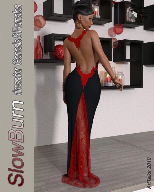SlowBurn dForce dress for Genesis 8 Female(s)