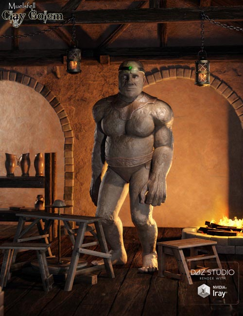 Muelsfell Clay Golem HD for the Genesis 8 Male