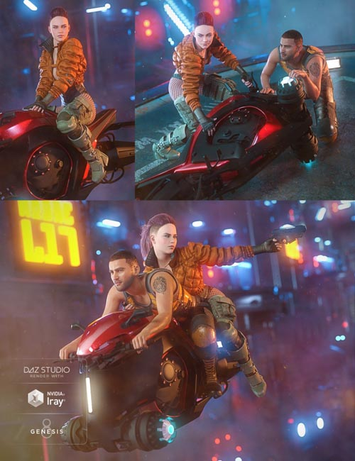 Future Noir Hoverbike Poses for Genesis 8