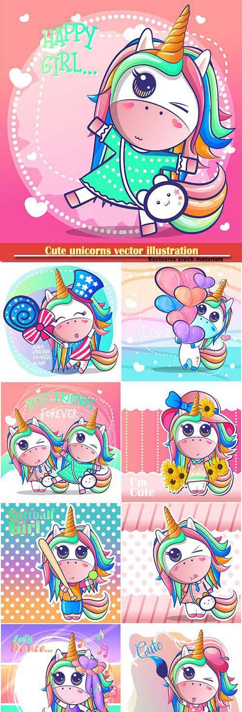 Cute unicorns vector illustration