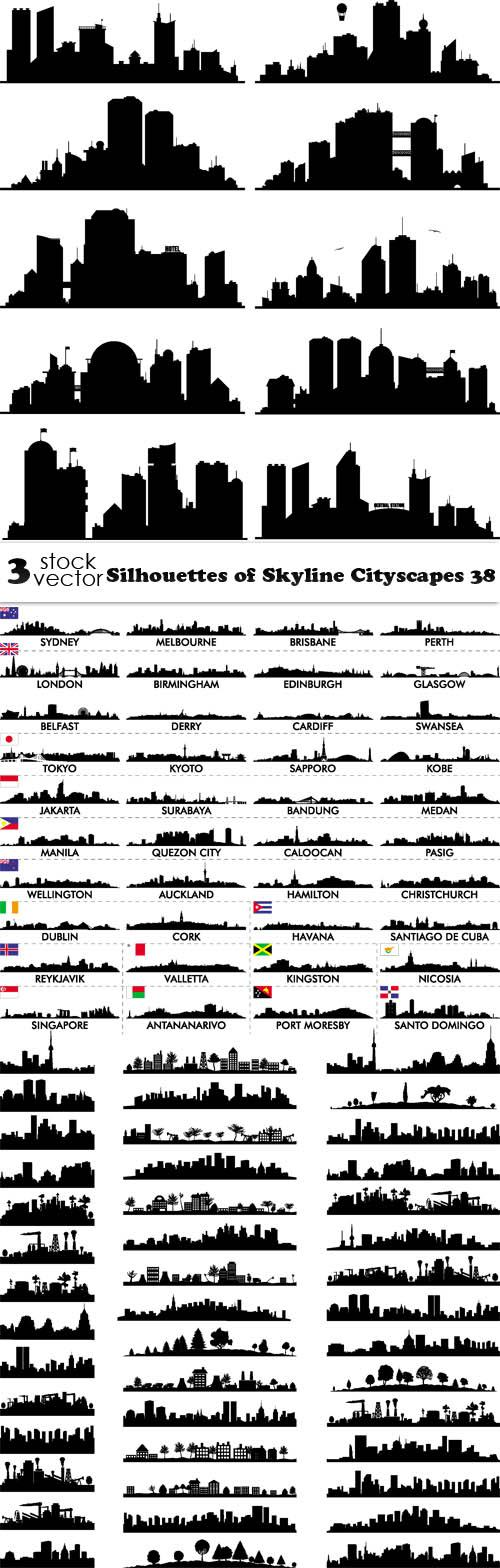 Silhouettes of Skyline Cityscapes 38