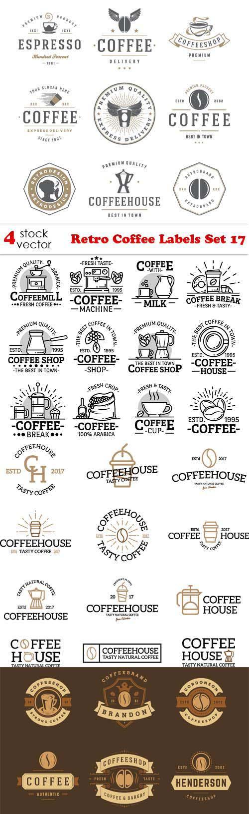 Retro Coffee Labels Set 17