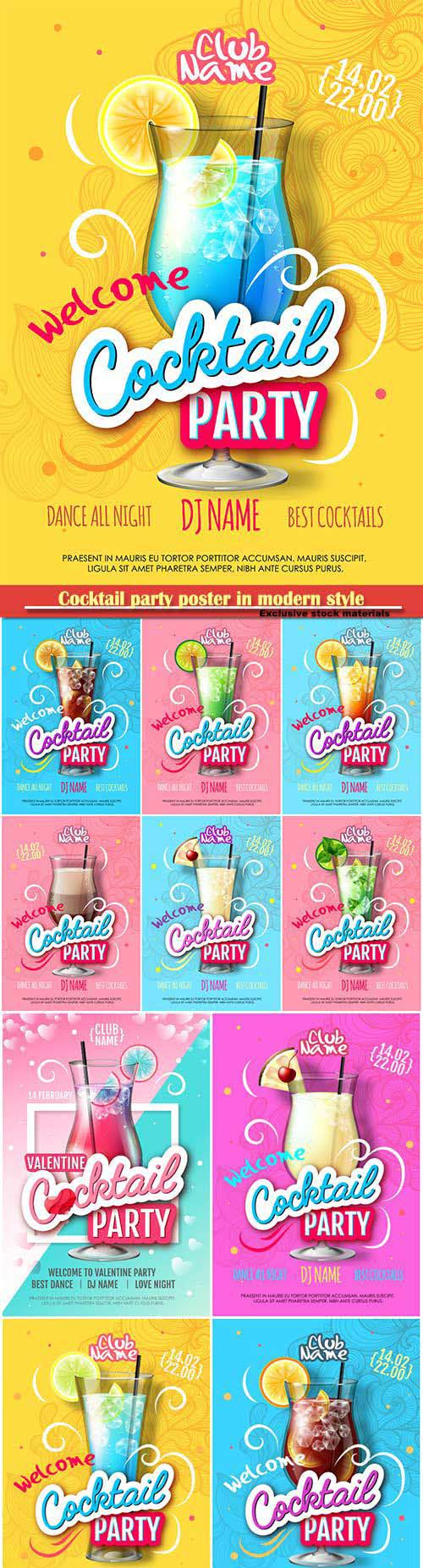 Cocktail party poster in modern style, realistic cocktail vector illustration
