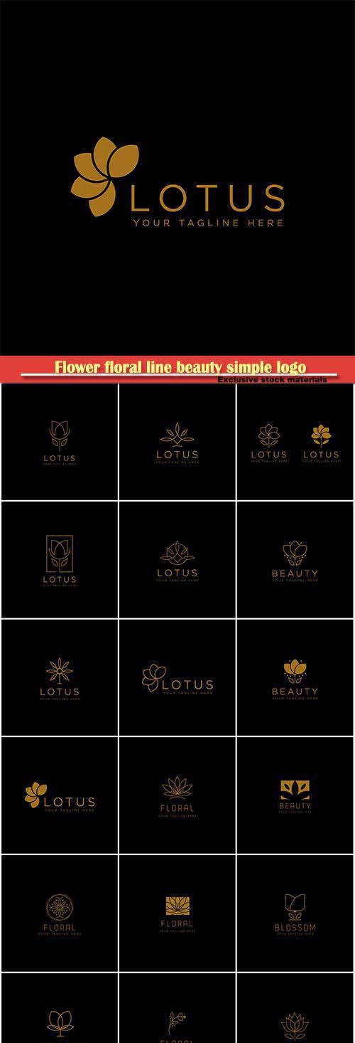 Flower floral line beauty premium simple logo template vector