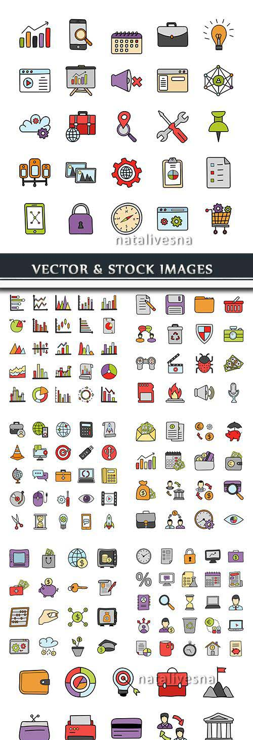 Finance and objects vector collection icon of drawn
