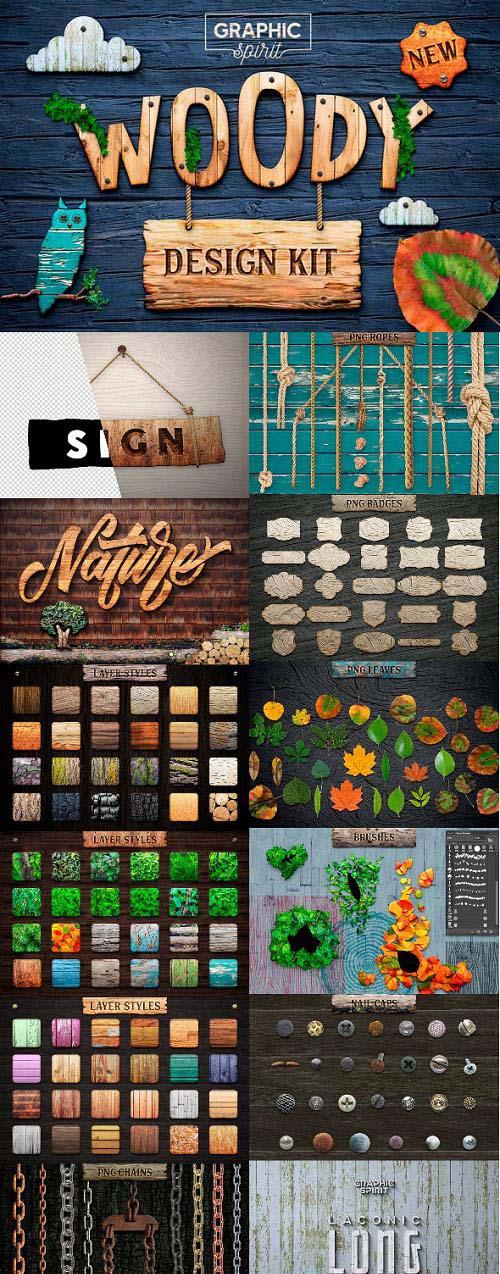 WOODY Texture Photoshop Styles KIT FULL 23551039