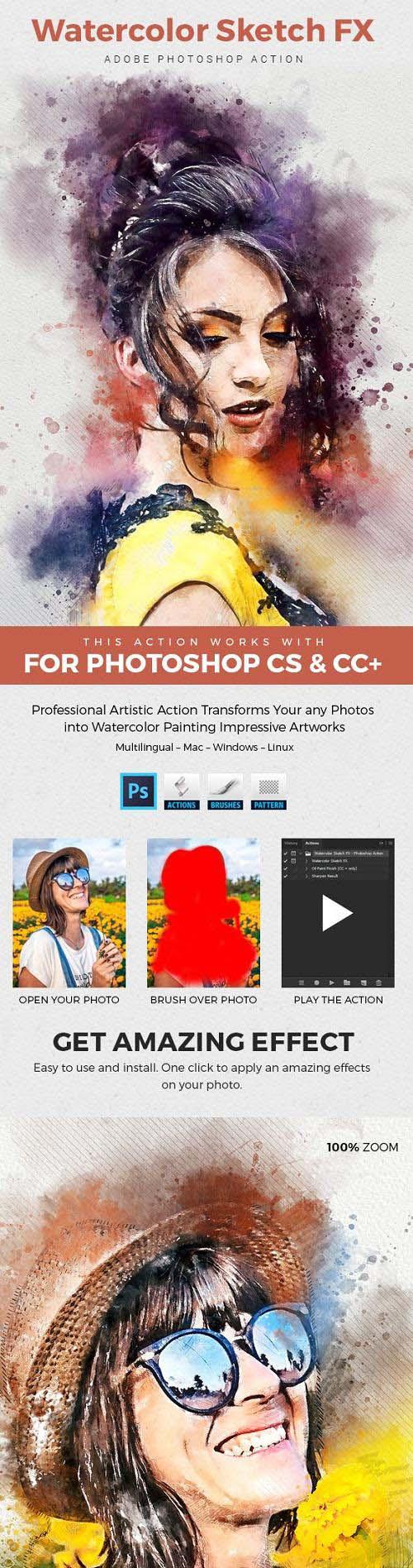 Watercolor Sketch FX - Photoshop Action 23729628