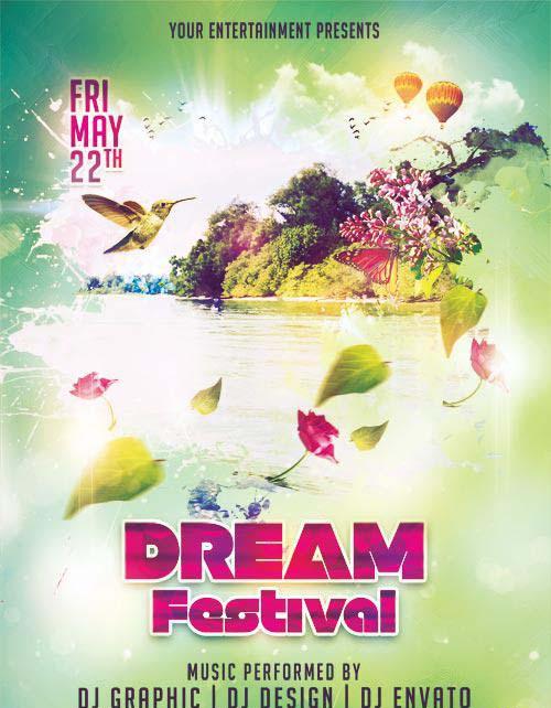 Dream Festival psd flyer template
